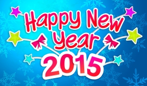 Blue Happy New Year 2015 Greeting Art Paper Card