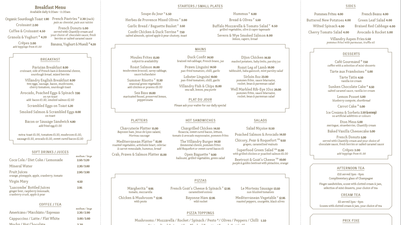 villandry menu